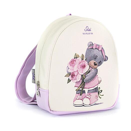 Рюкзачок детский с мишкой с пионами кремовый-розовый
