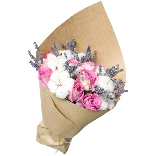 Розы с хлопком и лавандой в крафте: букеты цветов на заказ Flowwow