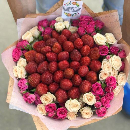 Кустовая роза. Клубника. N166: букеты цветов на заказ Flowwow