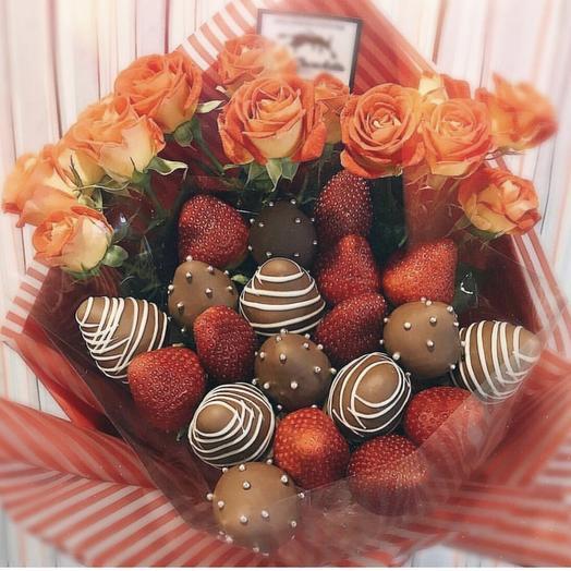 Клубничный букет «Амиго»: букеты цветов на заказ Flowwow