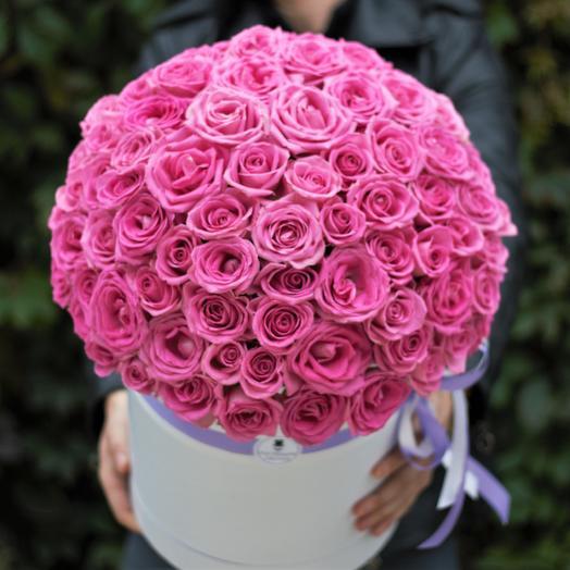 101 Розовая Роза в Большой коробке: букеты цветов на заказ Flowwow