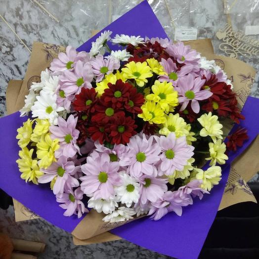 Букет из 15 кустовых хризантем микс: букеты цветов на заказ Flowwow