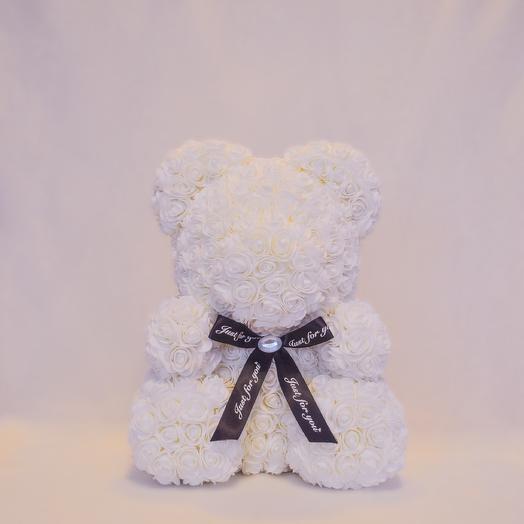 Мишка из роз RozaRose Белый - 40 см: букеты цветов на заказ Flowwow