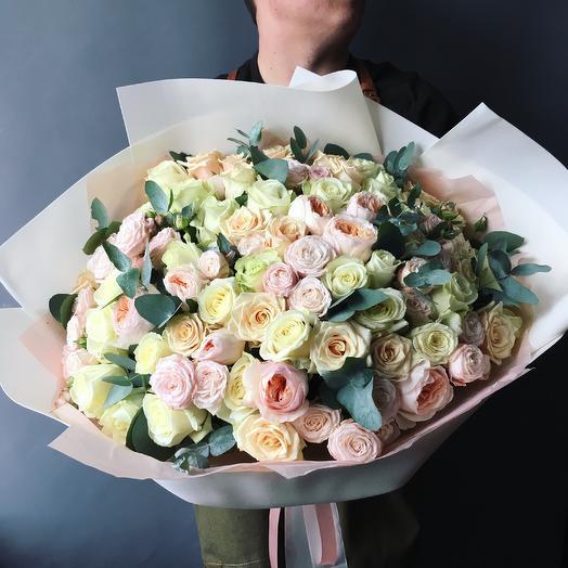 Роскошный микс роз: букеты цветов на заказ Flowwow