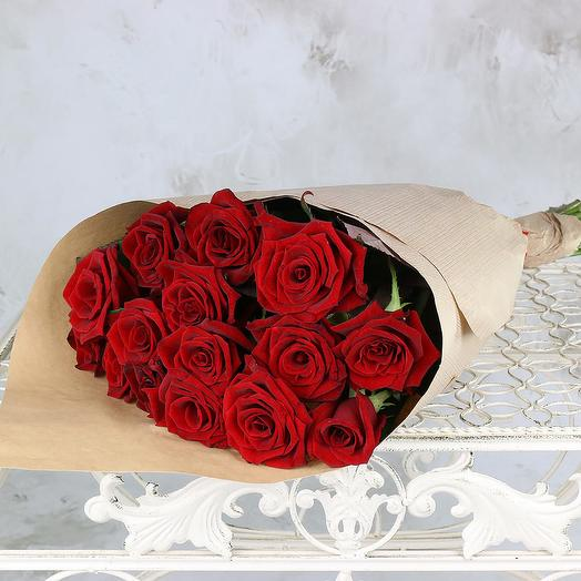 Bouquet of 15 red roses in Kraft packaging