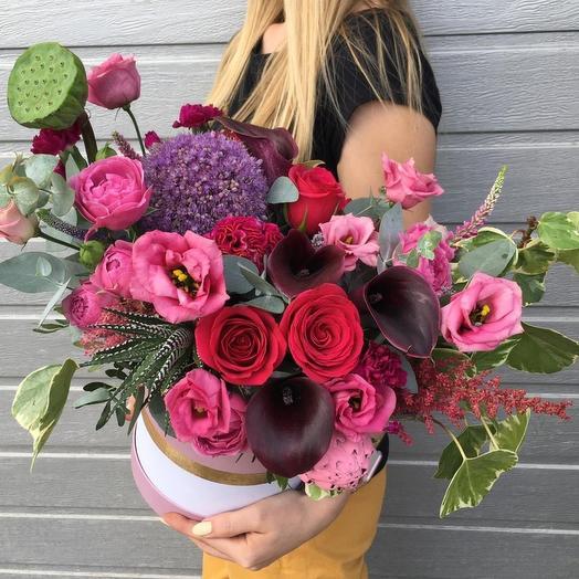 """Цветы в шляпной коробке """"Ягодный микс"""": букеты цветов на заказ Flowwow"""
