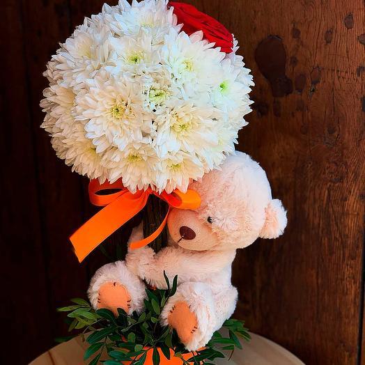 Дерево из цветов с мягкой игрушкой: букеты цветов на заказ Flowwow