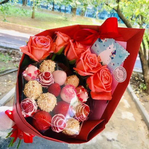Клубничный: букеты цветов на заказ Flowwow
