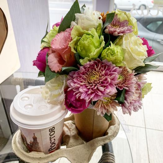 Set flowers+coffee