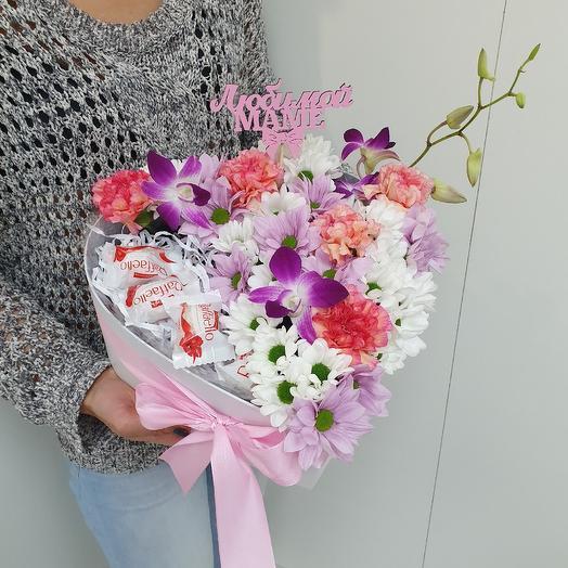 Нежное сердце мамы: букеты цветов на заказ Flowwow