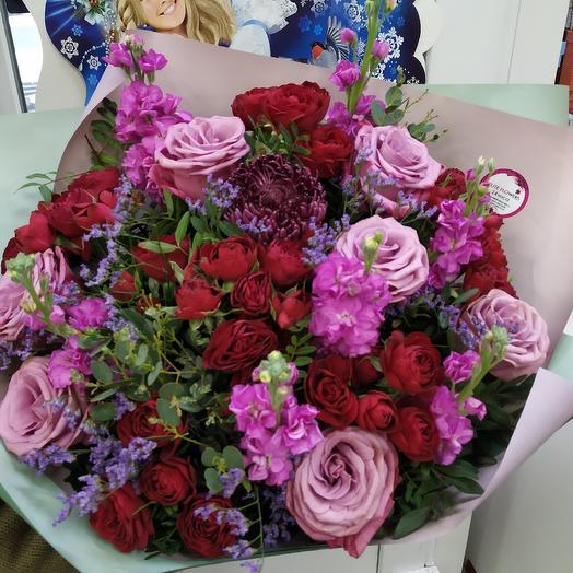 """Ароматный букет сезонных цветов """"Фиолетовый бриз"""": букеты цветов на заказ Flowwow"""