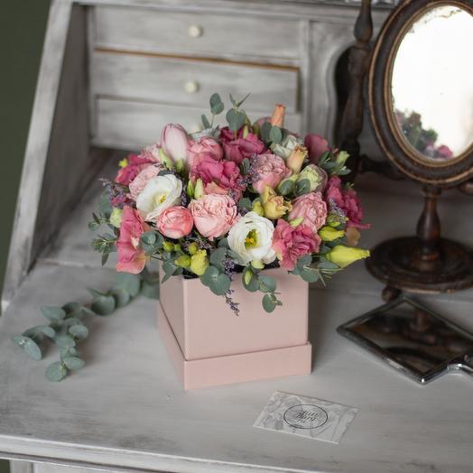 Композиция из цветов «Клубничное мороженое»: букеты цветов на заказ Flowwow