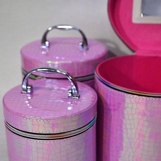 Шкатулка цилиндр Рептилия, набор из 3 шт, кожзам, жемчужный ярко-розовый, W88-1: букеты цветов на заказ Flowwow