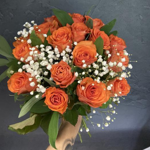17 orange roses