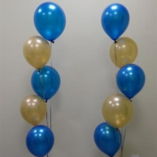 Композиция из перламутровых шаров, синий-золото