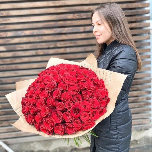 Букет из 101 бордовой розы 60см