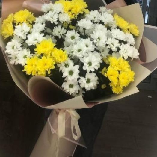 Bouquet of white and yellow chamomile chrysanthemums