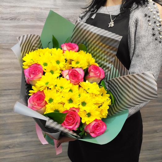 Букет Bouquet of roses and chrysanthemums 💐