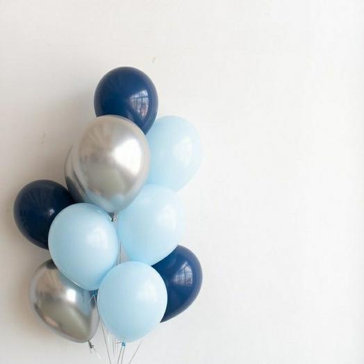 """Связка воздушных шаров""""синий-серый-голубой"""""""