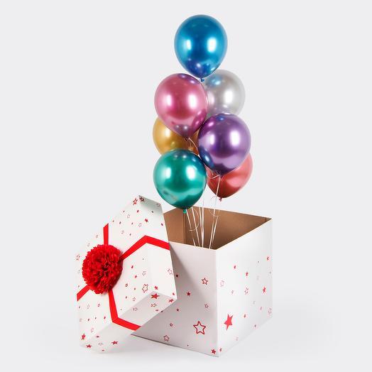 Коробка-сюрприз с шарами хром ассорти