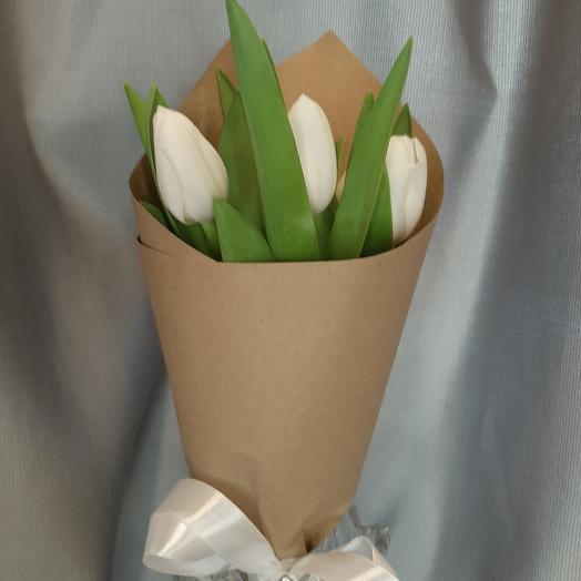 Тюльпаны белые 7шт