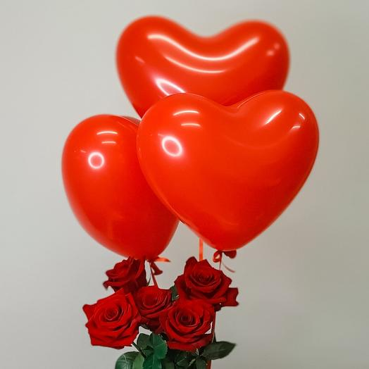 Roses with balloons