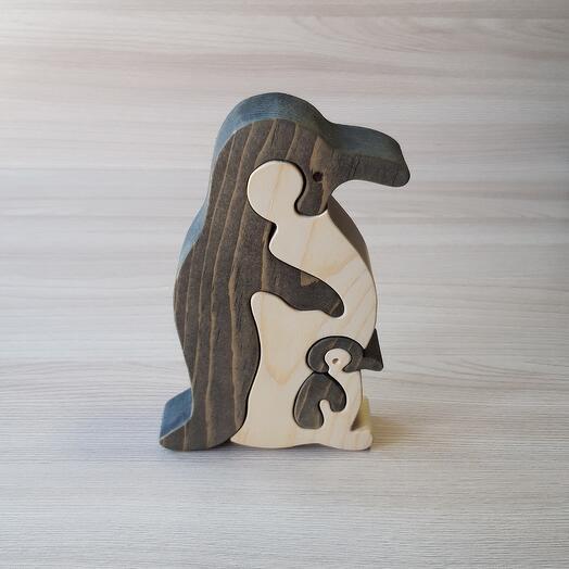 """Деревянный пазл из кедра ручной работы """"Пингвин с пингвиненком"""", 4 элемента"""