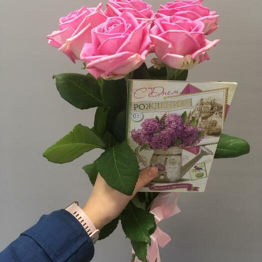 5 розовых роз