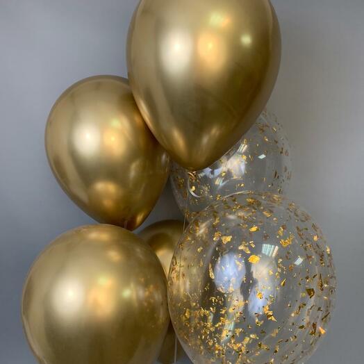 Каскад из 6 гелиевых шаров «Роскошь золота»