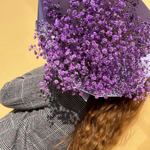 "Bouquet with gypsophila ""Purple fairy tale"""