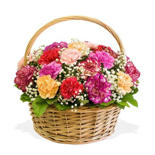 Корзинка гвоздик Конфетти: букеты цветов на заказ Flowwow