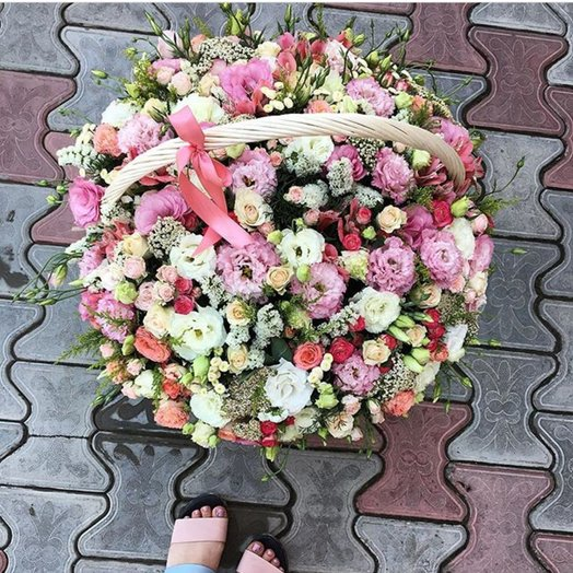 A large basket of flowers