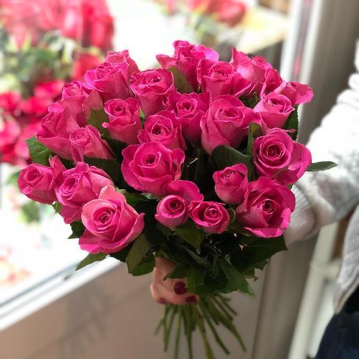 Букет из 25 розовых кенийская роза: букеты цветов на заказ Flowwow