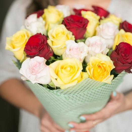 Микс из 25 роз: букеты цветов на заказ Flowwow