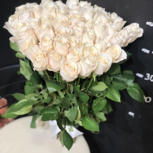 51 белая роза 50 см (Эквадор): букеты цветов на заказ Flowwow