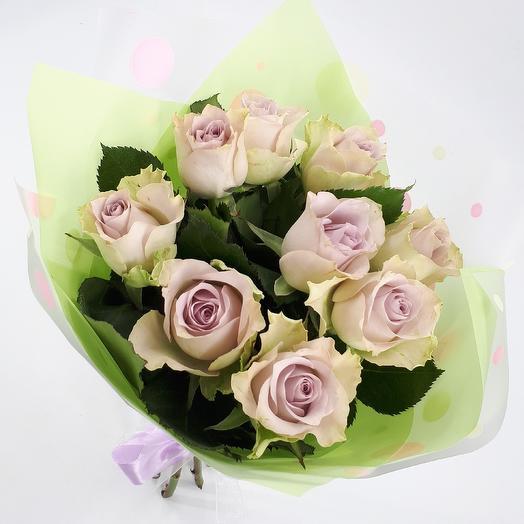 9 нежно сиреневых розочек: букеты цветов на заказ Flowwow