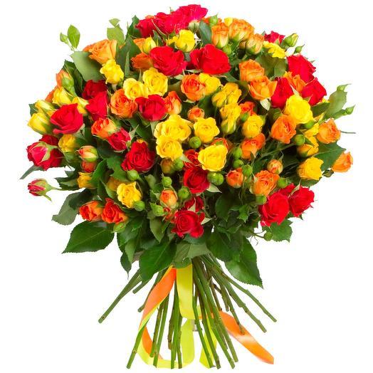 """Букет из 25 кустовых роз """"Осенний закат"""": букеты цветов на заказ Flowwow"""