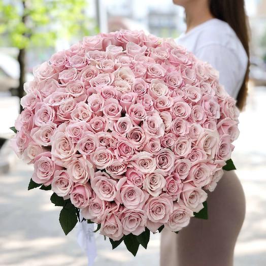 101 розовая роза Sweet Escimo: букеты цветов на заказ Flowwow