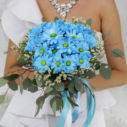 Букет невесты из хризантемы и эвкалипта: букеты цветов на заказ Flowwow