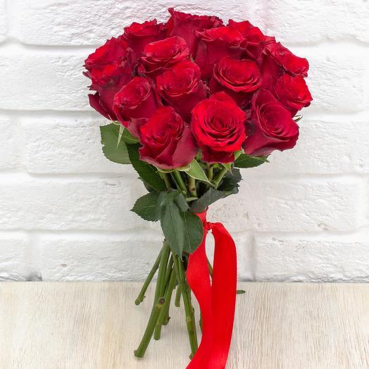 15 бордовых роз 40 см