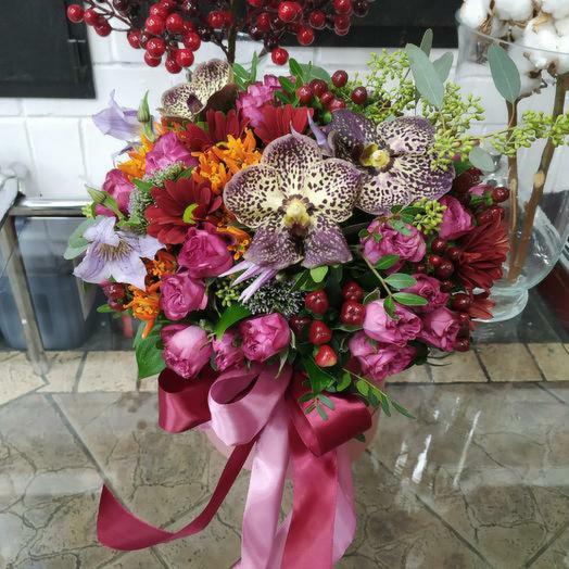 """Экзотическая шляпная коробка """"Подари мечту"""": букеты цветов на заказ Flowwow"""