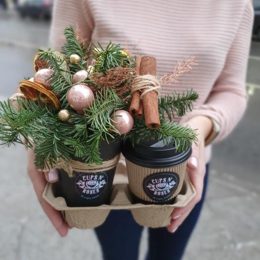 Новогодняя композиция и кофе: букеты цветов на заказ Flowwow
