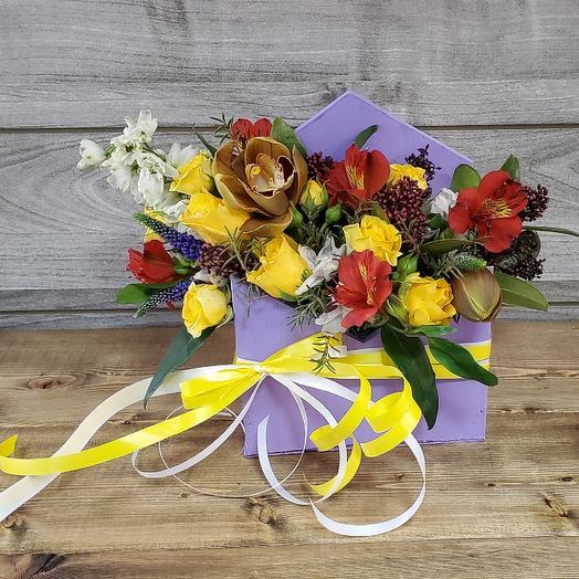 Конверт с розами и орхидеей: букеты цветов на заказ Flowwow