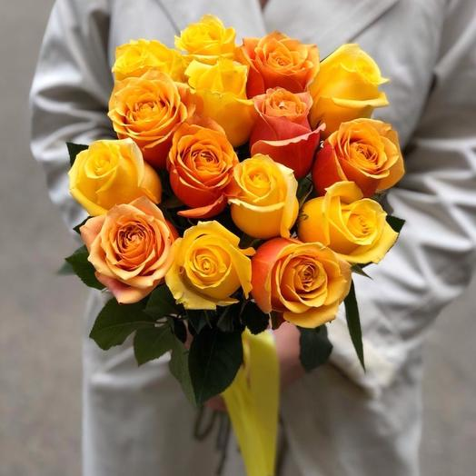 15 оранжево-жёлтых роз