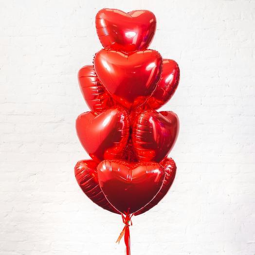 Букет из 10 фольгированных сердец