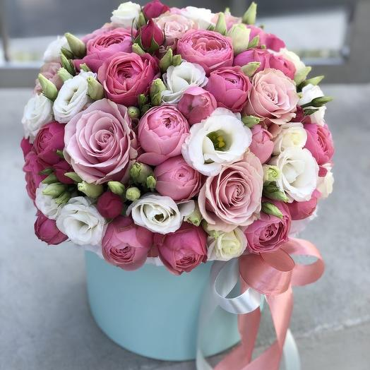 Arrangement peony spray roses and eustoma Cute Flirty