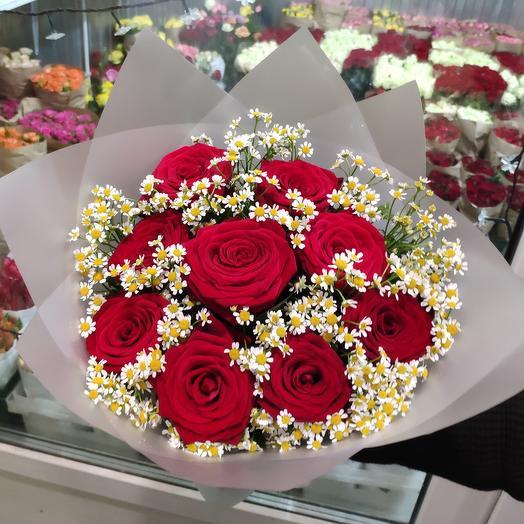Роза с ромашкой