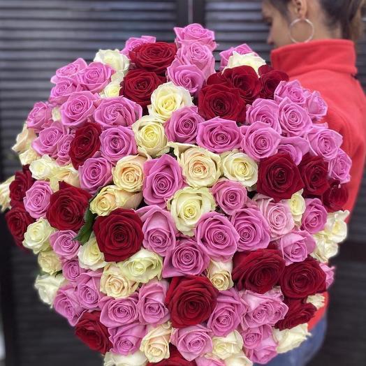 101 голландская роза микс 60 см