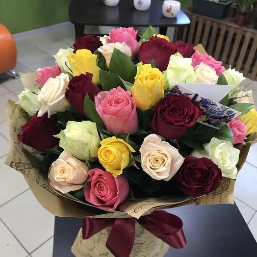 25 роз Эквадор микс 50 см