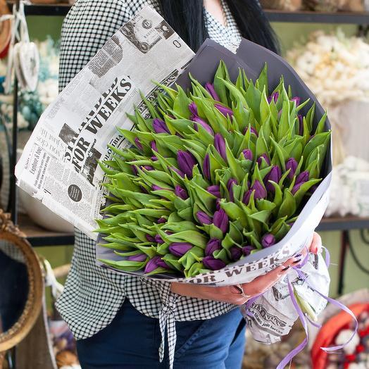 Букет Тюльпаны Баклажан